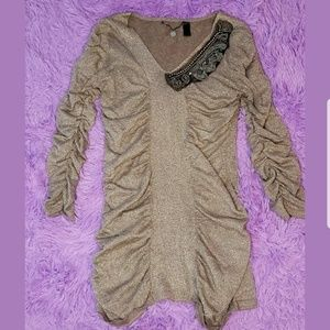BKE Boutique Gold Ruffled Top, Lace And Sequins